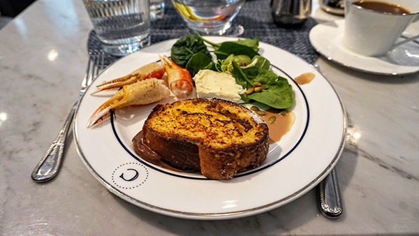 second plate, french toast, king crab, salad